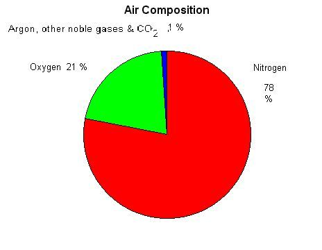 Percentage of gases that make up air